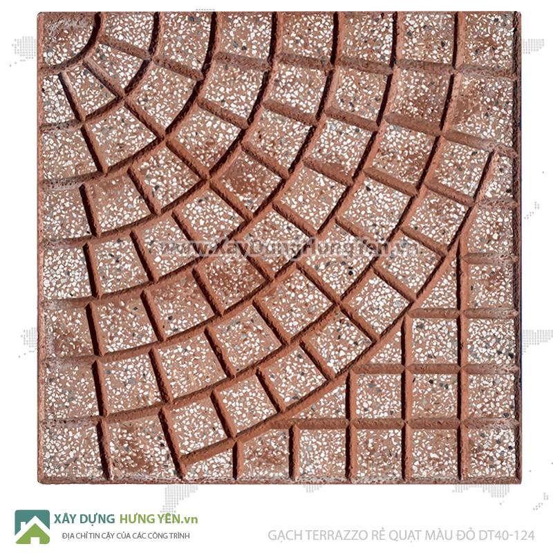 Gạch lát vỉa hè Terrazzo 400x400 Rẻ Quạt Đỏ DT40-124
