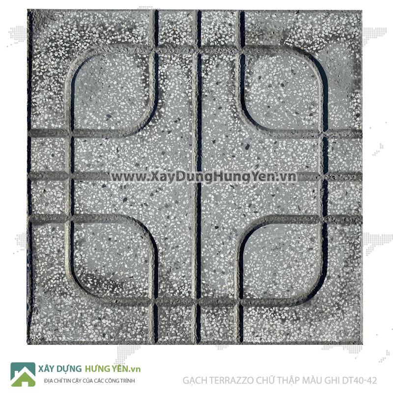 Gạch lát vỉa hè Terrazzo 400x400 chữ thập ghi DT40-42