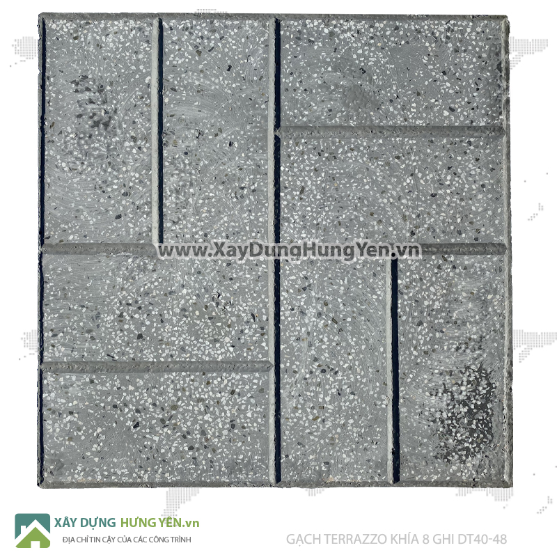 Gạch lát vỉa hè Terrazzo 400x400 khía 8 ghi DT40-48